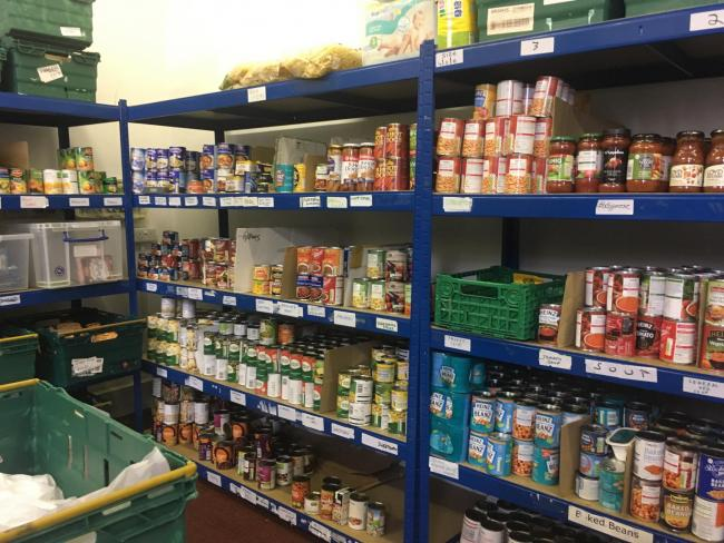 The foodbank stocks supplies donated by members of the public