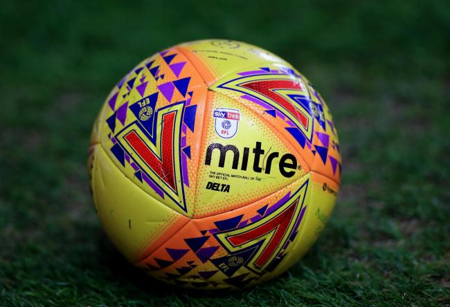 A view of the official Mitre Delta Sky Bet EFL yellow match ball
