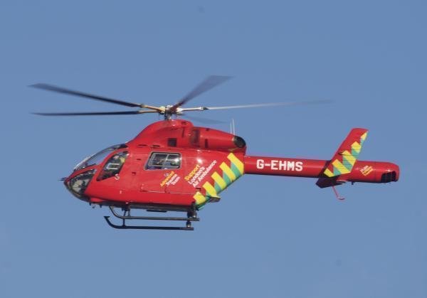 An air ambulance landed in Bethlem Royal Hospital