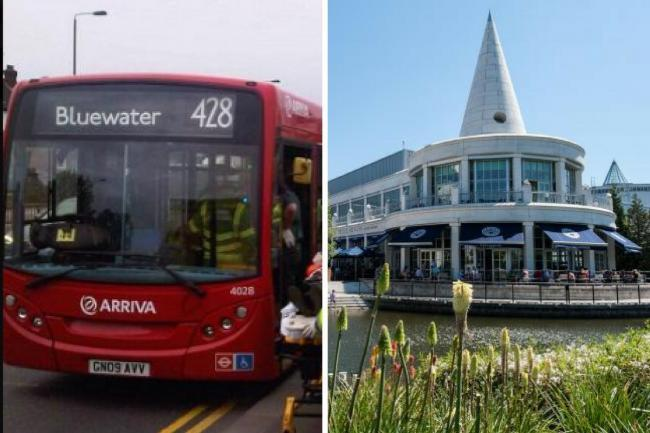 The 428 route serves Darent Valley Hospital and Bluewater.