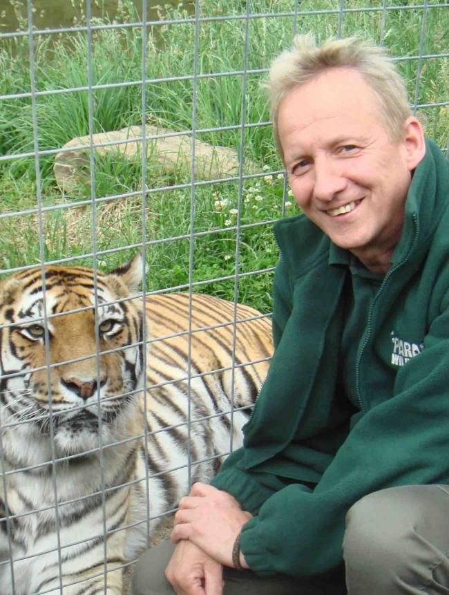 Martin Hill with one of his beloved tiger's. Credit: Martin Hill