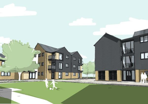 Artists Impression of new homes being built in Gilbert Close. Credit: Dartford Borough Council