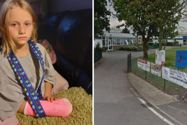 Rosie, eight, broke her wrist after playing at lunchtime