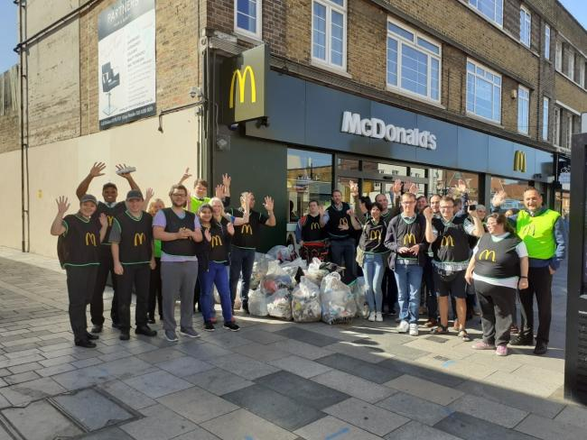 McDonald's staff spend the day picking up litter in Sidcup