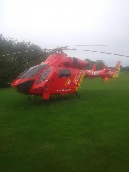 An air ambulance was called as the victim was rushed to hospital