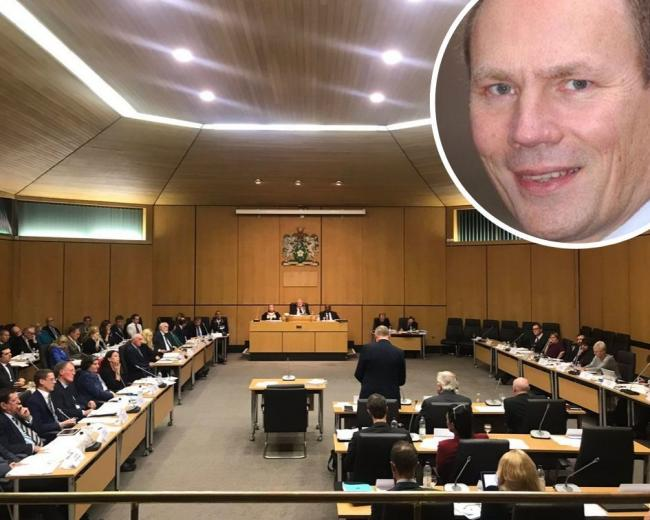 Cllr Tickner giving his speech at full Council, top left - Cllr Tickner