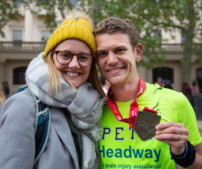 Pete after finishing the London Marathon with his wife Nina (Philip Brown)