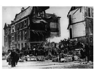 The destruction caused by the bombing of Sandhurst Road School in 1943