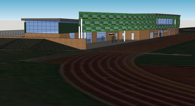 An artist's impression of the redeveloped track and pavilion at Norman Park.