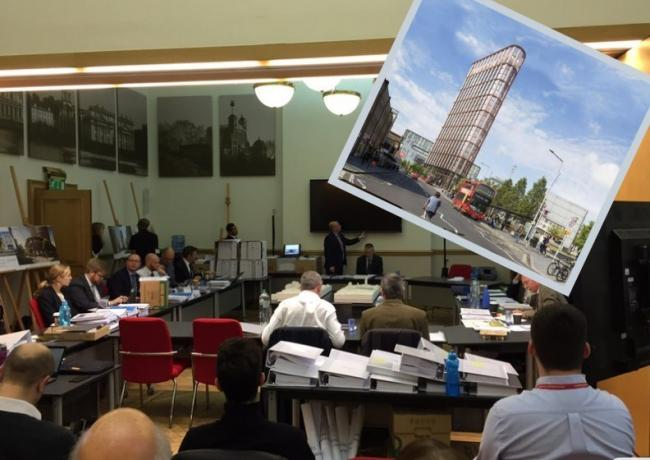 The first day of hearings at Greenwich council in November and (inset) the proposed building.
