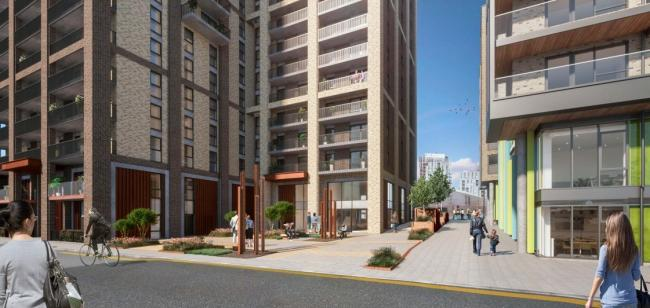 An artist\s impression of the Saxon Wharf development. Picture: Greenwich council/BPTW