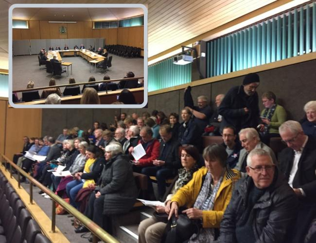 The public gallery at Bromley council fills ahead of the meeting and (inset) the executive discuss the move.
