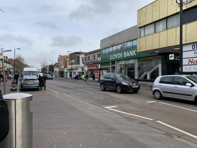 A view of Orpington highstreet from the Walnuts centre entrance.