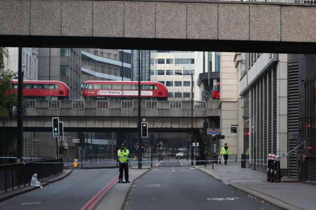 A sectioned-off road following Friday's terror attack. Photo: Steve Parsons/PA Wire.