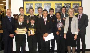 From left to right: Headteacher, Brian Lloyd, with some of the student, Bromley Council's director of children & young people services Gillian Pearson, and former pupil Phil Beadle.