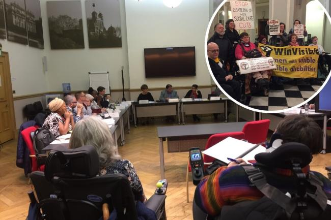 Greenwich's scrutiny committee on Thursday and (inset) community opposition gathered at Wednesday's meeting.