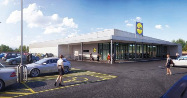 An artist's impression of the proposed Lidl at the Erith site.