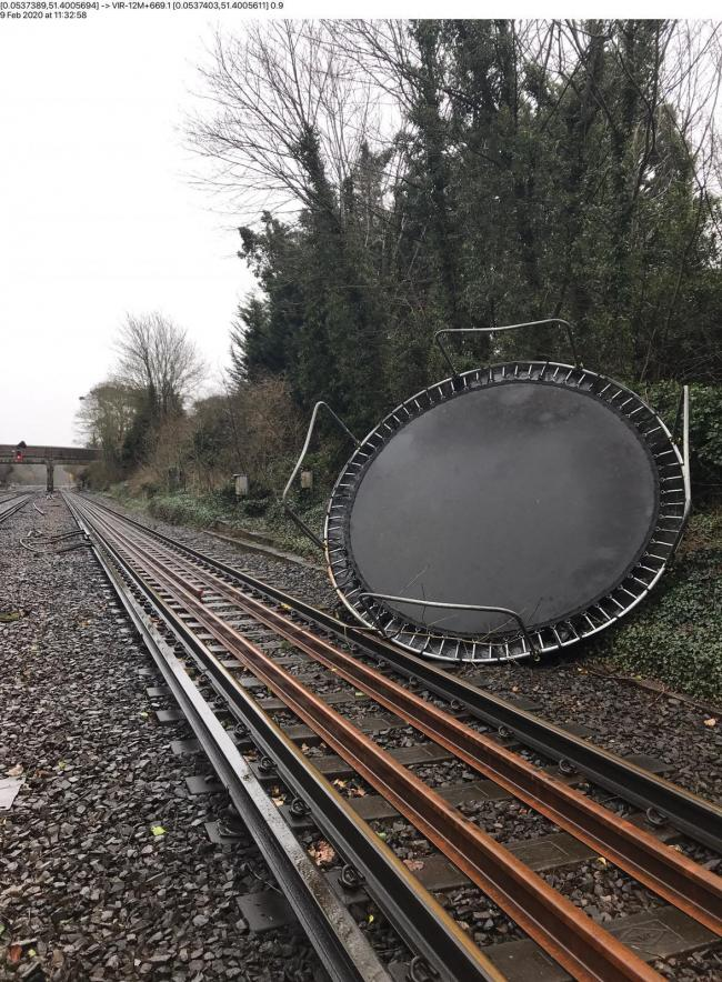 A trampoline on the tracks in Bickley (Network Rail)