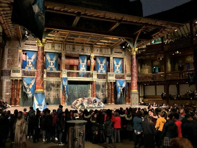 The stage at the Globe Theatre in London
