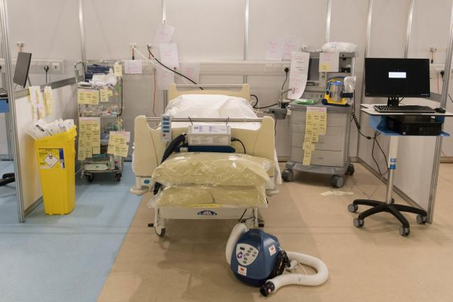Hospital bed at the Excel Centre (PA)