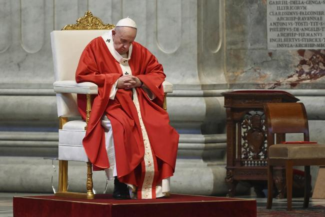 Pope Francis celebrates Palm Sunday Mass in St Peter's Basilica