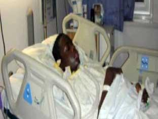 Johnson Ndjoli in hospital