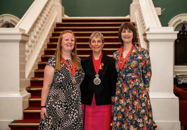 New Mayor Cllr Linda Bird pictured with her consorts, daughters Amy and Emily.