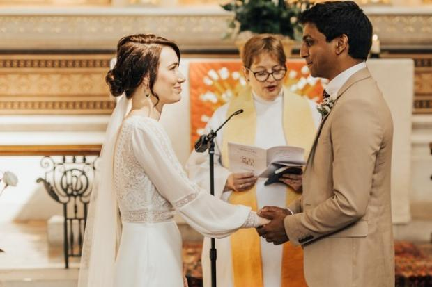 Jann Tipping and Annalan Navaratnam getting married at St Thomas' Hospital Credit: Rebecca Carpenter Photography