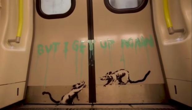 News Shopper: 'I get locked down, but I get up again': Banksy's positive message to London (Photo: Banksy).