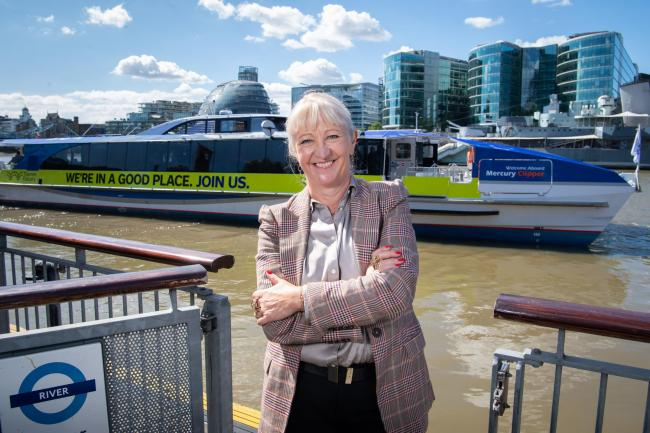 Thames Estuary Envoy Kate Willard at the launch of 'The Green Blue' action plan, at Tower Millenium Pier in London. Matt Crossick/PA Wire.