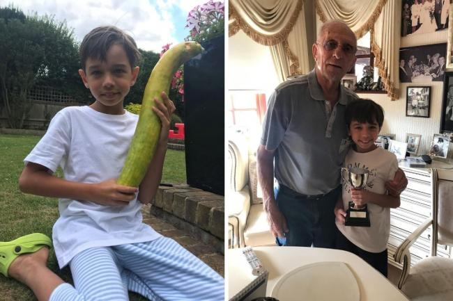 Tommy with his cucumber and great-grandad