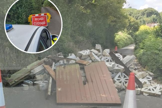 Kent Police have been forced to close Daltons Road in Crockenhill, Swanely, after extensive fly tipping.