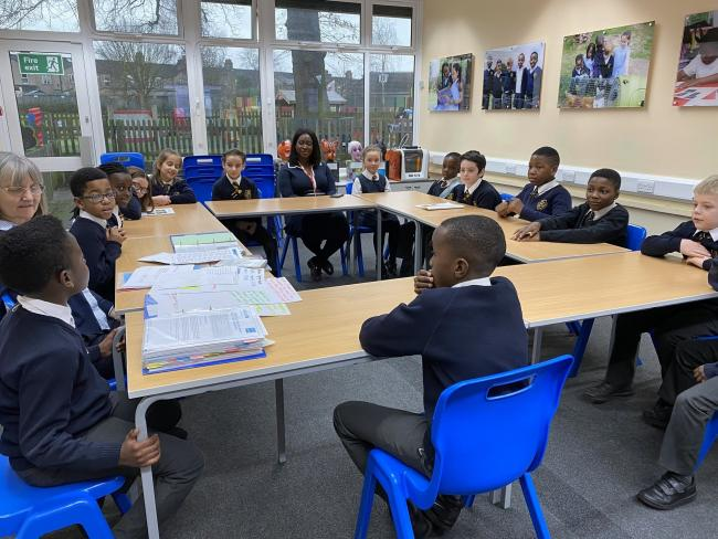 Erith and Thamesmead MP Abena Oppong-Asare visiting St Fidelis School earlier this year. The MP has now organised a month-long series of workshops to ready students for a return to school. Image supplied