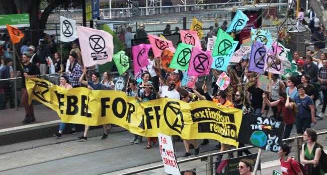 One of the co-founders of Extinction Rebellion, Roger Hallam, was among those arrested. Image: John Englart via Flickr