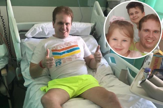 Thamesmead dad Chris Kuzelewski, pictured with family, after surviving a Covid-19 induced coma.