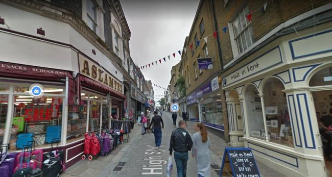 Gravesend High Street, where a group said a man tried to rob them at knifepoint
