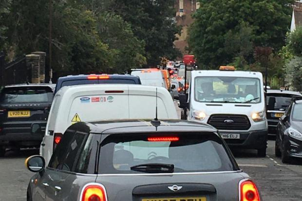 News Shopper: Residents have expressed dismay over the measures, which they say have led to traffic situations as pictured. Image: supplied