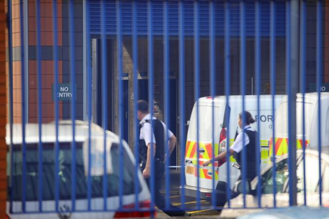 The scene at Croydon Custody Centre in south London where a police officer was shot by a man who was being detained in the early hours of Friday morning. Aaron Chown/PA Wire