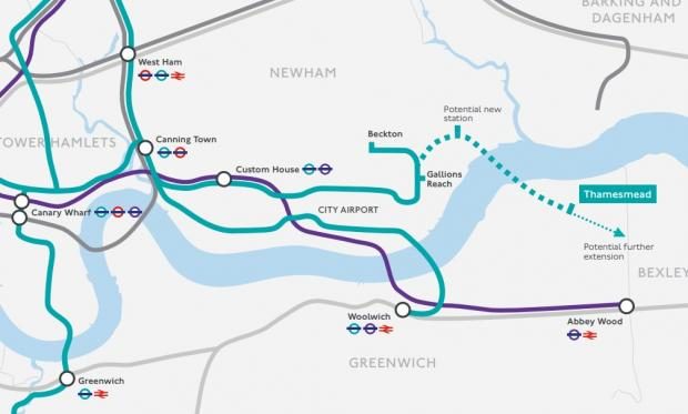 News Shopper: A map showing the proposed extension route to Thamesmead. Image: TfL