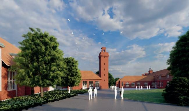 View looking towards the revamped Engine House and Honeycomb Building, as illustrated by a designer. Image: Greenwich Council.