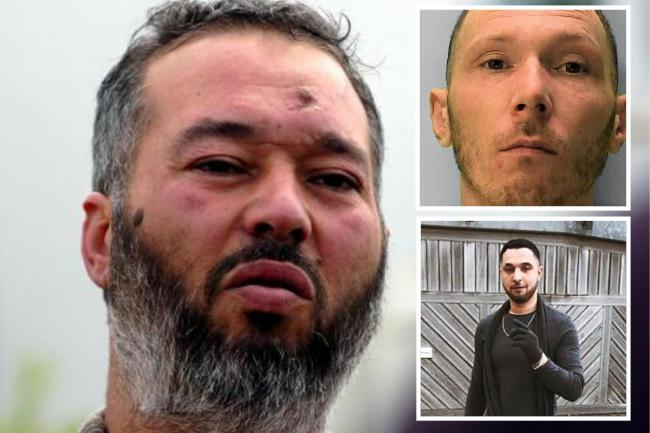 Abubaker Deghayes with son Abdul, bottom inset, and 'sorry' killer Macleod, top