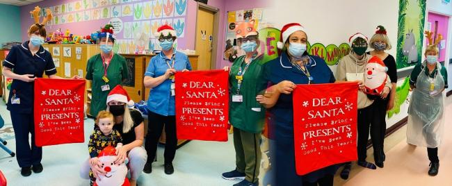 Lewisham and Greenwich NHS Trust's Virtual Christmas Appeal 2020 - photo Matrons, Nurses, Play Specialists with patients, Ralph stockman and Callum Ward.