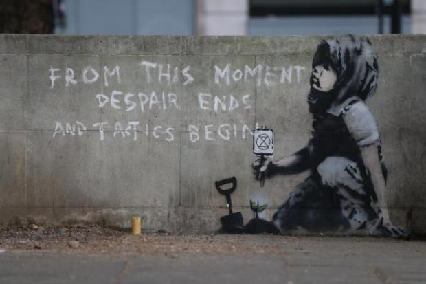 News Shopper: The environmental artwork by Banksy sprung up on a wall in Marble Arch last year
