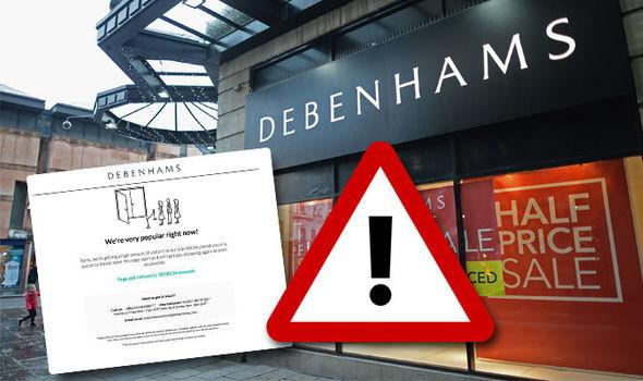 Debenhams website is not working for some users across the UK