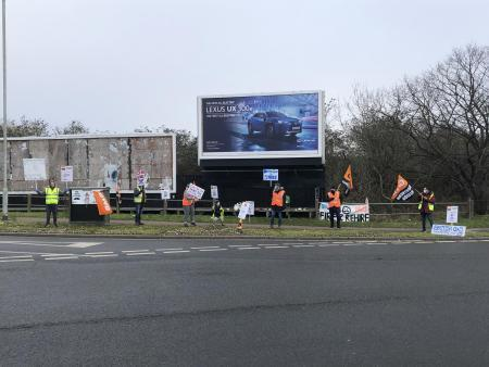 British Gas employees on strike at Crittalls Corner in Sidcup.