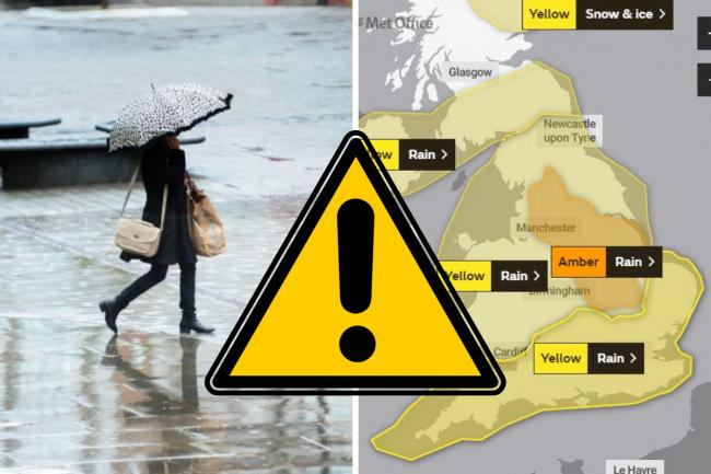 The Met Office has issued a weather warning for rain on Wednesday and Thursday