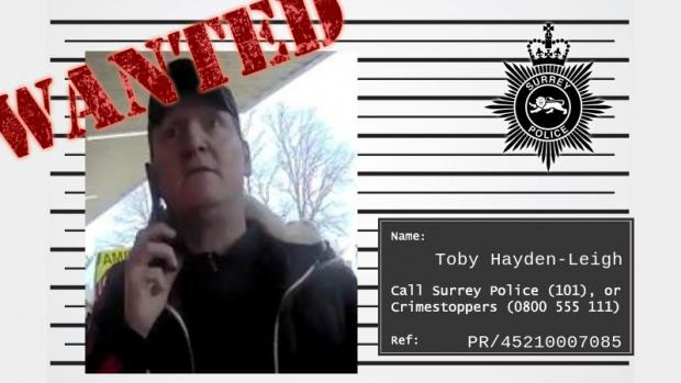 News Shopper: Wanted posted for Toby Hayden-Leigh issued by Surrey Police