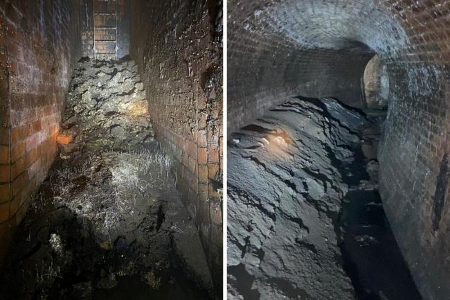 Photos issued by Thames Water of a fatberg, that had the weight of a small bungalow