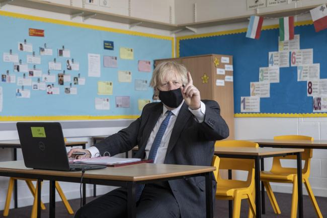 Prime Minister Boris Johnson takes part in an online class during a visit to Sedgehill School in Lewisham, south east London, to see preparations for students returning to school (PA)
