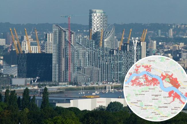 View from the Greenwich Peninsula. Image: Kleon3. Image detail: Climate Central